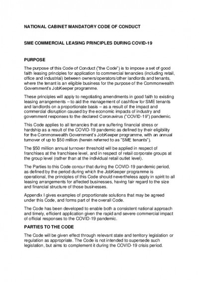 pdf preview National Cabinet Mandatory Code of Conduct SME Commercial Leasing Principles During COVID 19